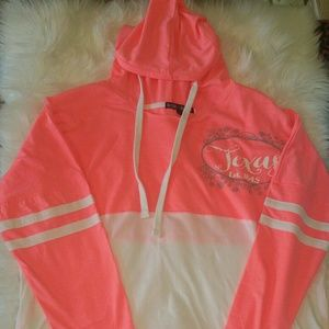 NWT Coral and White Long Sleeved Hooded T Shirt